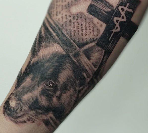 Realistische hond tattoo